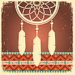 Vector Dream Catcher Card With Ethnic Ornament.Native American Indian Illustration stock illustration
