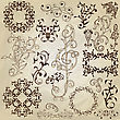 Floral Pattern Design Elements On Crumpled Paper Texture, Fully Editable Eps 10 File