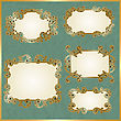Floral Swirly Golden Frames On Crumpled Paper Texture, Fully Editable Eps 10 File