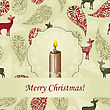 Greeting Card With Burning Candle On Background With Deers And Snowflakes
