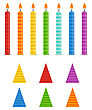 Vector Holiday Set. Colorful Birthday Candles And Hats On White Background. Rainbow Colors