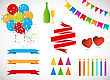 Vector Holiday Set. Colorful Garlands, Flags, Banners, Air Balloons, Birthday Candles, Hats And Champagne Bottle And Glass On White Background. Rainbow Colors stock illustration