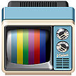 Vector Icon Of Vintage Television Receiver, Isolated On White Background. File Contains Gradients, Blends And Transparency. No Strokes