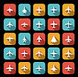 Vector Icons Of Airplanes In Flat Style