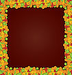 Autumn Frame With Colorful Leave Popping Up