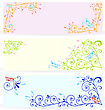 Blue Butterflies Cut Out Of Paper Over Floral Spiral Textured Banners stock vector