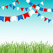 Vector Illustration Of Blue Sky And Green Grass Landskape With Colorful Flags Garlands. Red, Blue And White Flags. Holiday Background With Place For Text