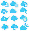 Vector Illustration Of Cloud Icon Set With Arrows And Internet Symbols