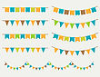 Vector Illustration Of Colorful Flag Carlands On Grey Background. Retro Colors Buntings And Flags. Holiday Set