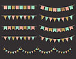 Vector Illustration Of Colorful Garlands On Black Background. Pastel Pink, Gold And Mint Colors Buntings And Flags. Holiday Set