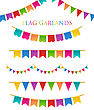 Vector Illustration Of Colorful Garlands On White Background. Rainbow Colors Buntings And Flags. Holiday Set