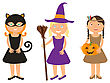 Vector Illustration Of Cute Little Girls Portraits In Halloween Costume. Black Cat, Whitch And Pocahontas Holding Halloween Pumpkin In Theire Hands. Halloween Trick Or Treat Illustration