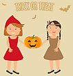 Vector Illustration Of Cute Little Girls Portraits In Halloween Costume. Little Red Riding Hood And Pocahontas Holding Halloween Pumpkin In Theire Hands. Halloween Trick Or Treat Illustration