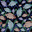 Fish And Waves Seamless Pattern stock illustration