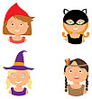 Vector Illustration Of Gute Little Girls Portraits In Halloween Costume. Little Red Riding Hood, Pocahontas, Black Cat And Witch. Halloween Trick Or Treat Illustration