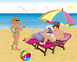 A Married Couple Under Umbrella On The Beach And Young Girl Saying Hello stock illustration
