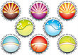 Vector Illustration Of Metal Bottle Tops In Various Colours, With Condensation Water Drops. Space For Your Text