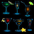 Ofneon Cocktail Icon Set On Black Background .
