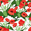 Vector Illustration Of Red Poppies Seamless Background stock illustration