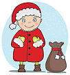 Vector Illustration With Santa Claus Greeting Card. Christmas And New Year 2015 Holiday Background