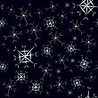 Snowflake Seamless Pattern On Dark Blue Background