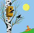 Starling On Tree stock illustration
