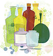 Water Colored Yellow Red Green Bottles stock vector