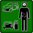 Man Icon With The Fuel Gauge In My Stomach And Speedometer Instead Of The Head. stock illustration