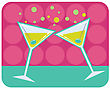 Retro Style Illustration Of Martinis With Olives On Abstract Retro Background stock photography
