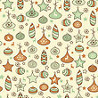 Seamless Christmas Pattern With Fir Tree Toys, Fully Editable Eps 8 File With Clipping Mask And Pattern In Swatch Menu stock illustration