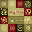 "Seamless Christmas Winter Pattern With Snowflakes, ""Happy New Year"" And ""Merry Christmas"" Greetings On Crumpled Paper Texture, Eps 10 Transparency Effects, Standard AI Font ""giddyup Std"