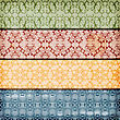 Seamless Floral Borders On Crumpled Paper Texture, Seamless Patterns Included In Swatch Menu , Fully Editable Eps 10 File With Transparency Effects And Mesh