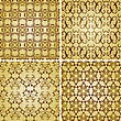 Seamless Golden Patterns, Oriental Style, Can Be Used As Patterns, Wrapping Paper, Fully Editable Eps 8 8, Seamless Patterns In Plain Colours In Swatch Menu