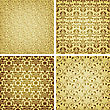 Seamless Golden Patterns, Oriental Style, Can Be Used As Patterns, Wrapping Paper, Fully Editable Eps 10 File With Clipping Masks, Seamless Patterns In Swatch Menu, Eps 10 Transparency And Mesh
