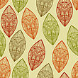 Seamless Pattern Autumn Highly Detailed Leaves, Fully Editable Eps 10 File With Clipping Mask, Pattern In Swatch Menu