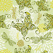Seamless Pattern With Butterflies, Dragonflies, And Abstract Flowers