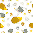 Vector Seamless Pattern With Cute Cartoon Hedgehogs. Autumn Background