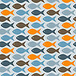 Seamless Pattern With Fishes, Fully Editable Eps 8 File With Clipping Masks And Pattern In Swatch Menu