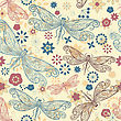 Seamless Pattern With Flying Dragonflies And Flowers