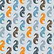 Seamless Pattern With Sea Horses, Fully Editable Eps 8 File With Clipping Masks And Pattern In Swatch Menu