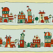Seamless Pattern With Town Streets And Small Houses, Trees, And Lanterns, Fully Editable Eps 8 File With Clipping Maks, Pattern In Swatch Menu