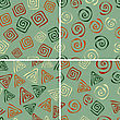 Seamless Patterns With Funky Abstract Figures, Eps 8 Fully Editable Files With Clipping Masks, Patterns In Swatch Menu
