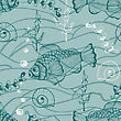 Seamless Underwater Pattern With Funky Fishes, Shells, And Plants, Hand Drawn Doodle Style, Fully Editable Eps 8 File, Seamless Pattern In Swatch Menu