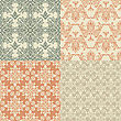 Seamless Vintage Wallpaper Patterns, Fully Editable Eps 8 File With Clipping Mask And Patterns In Swatch Menu