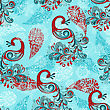 Seamless Winter Pattern With Stylized Peacocks And Snowflakes