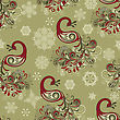 Seamless Winter Pattern With Stylized Peacocks And Snowflakes, Fully Editable File With Clipping Masks