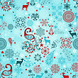Seamless Winter Pattern With Stylized Peacocks, Deers, Stars, And Snowflakes