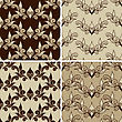 Set Of 4 Seamless Vintage Patterns. Fully Editable Eps 8 File With Clipping Masks,patterns In Swatch Menu, Can Be Used As Pattern, Wallpaper, Textile, Wrapping Paper Or Background, Easy To Chan