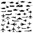 Set Of Aircraft, Armored And Guns. stock vector