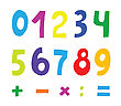 Set Of Color Numbers On White